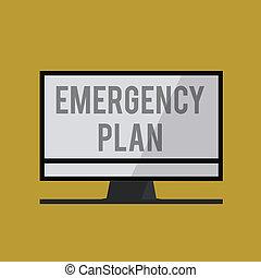handschrift, text, notfall, plan., begriff, bedeutung, verfahren, für, antwort, zu, major, notfälle, sein, vorbereitet