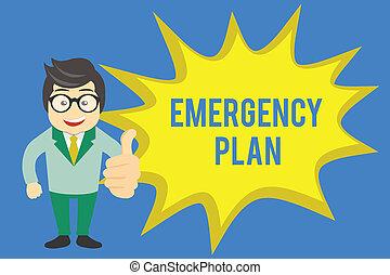 handschrift, text, schreibende, notfall, plan., begriff, bedeutung, verfahren, für, antwort, zu, major, notfälle, sein, vorbereitet
