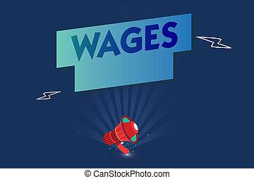 handschrift, text, wages., begriff, bedeutung, fest, regelmäßig, zahlung, verdient, für, arbeit, oder, dienstleistungen, bezahlt, auf, alltaegliches