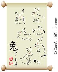 handscroll, konijnen, chinees