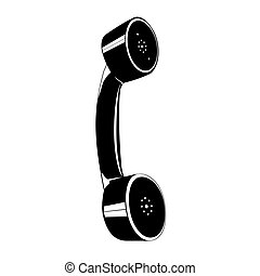 Handset. A telephone headset icon composed of two shapes in...