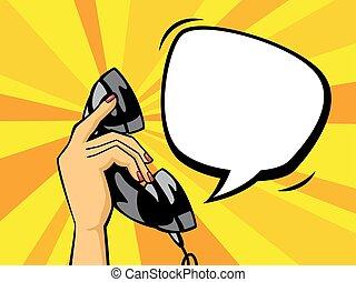 handset., art, pop, main, téléphone, noir, tenue