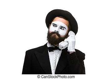 handset., bild, pantomime, besitz, mann