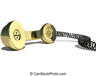 Handset gold 3d on a white background