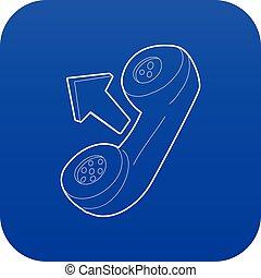 Handset icon blue vector
