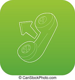 Handset icon green vector
