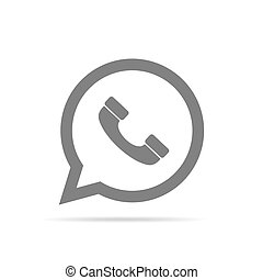 Handset icon on speech bubble. Vector illustration