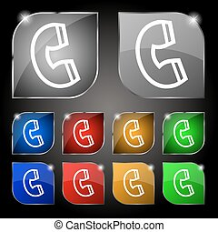 handset icon sign. Set of ten colorful buttons with glare. Vector