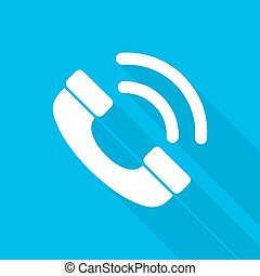 Handset icon. Vector illustration. - White handset icon in...
