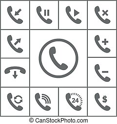 Handset icons - Set of handset icons. Phone and symbol,...