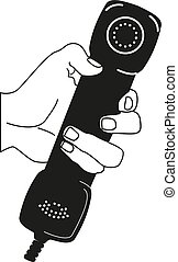 Handset in hand. Holding telephone Old classic phone Vector illustration Isolated on background.