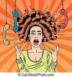 handset., mulher, arte, estouro, vetorial, furioso, agressivo, gritando