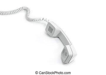 Handset of modern landline telephone on a white background