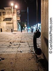 handset, rua, telefone