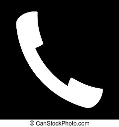 handset white icon on black background of vector illustration