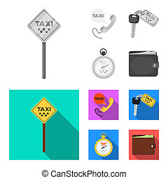 Handset with the inscription of a taxi, car keys with a key fob, a stopwatch with a fare, a purse with money, dollars. Taxi set collection icons in monochrome, flat style bitmap symbol stock illustration web.
