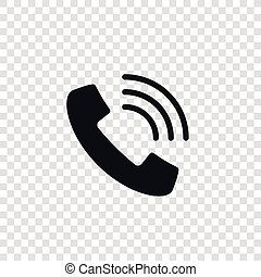 Handset with waves vector icon isolated on transparent background