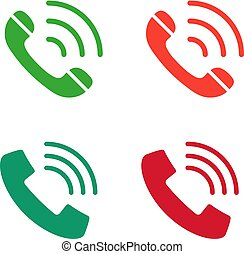 Handset with waves vector icon isolated on white background