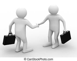 handshake., ミーティング, 2, businessmen., 隔離された, 3d, イメージ