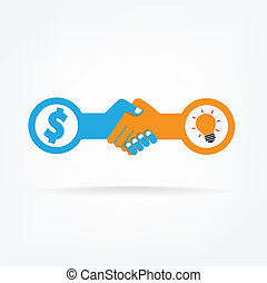 Handshake abstract sign vector design template. Business ...