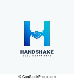 Handshake Abstract Vector Sign, Symbol or Logo Template. Hand Shake Incorporated in Letter H Concept.