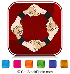 Handshake - An image of a handshake on a colorful button.