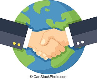 Handshake and planet Earth