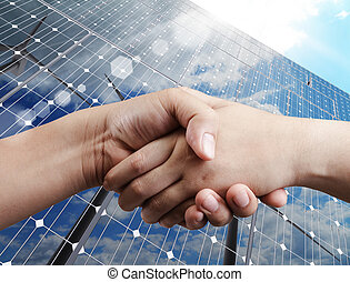 handshake and sunlight background
