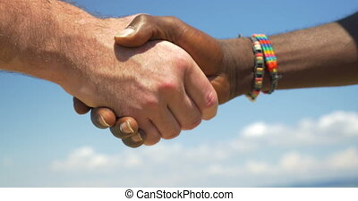 Handshake as symbol of international friendship