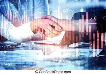 Teamwork and accounting concept - Handshake at abstract ...