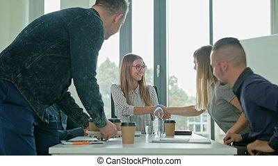 Handshake at Business Meeting Showing Teamwork