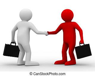 handshake., beeld, twee, vrijstaand, businessmen., ...