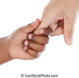 Handshake between an African-American and Caucasian