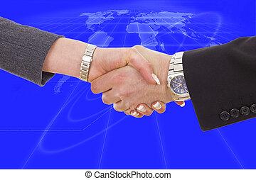 handshake between business people with blue global network planet map behind