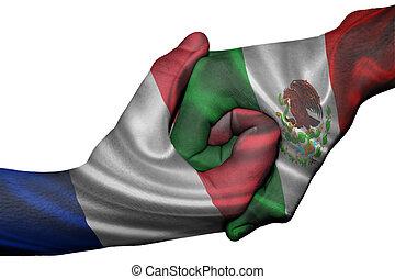 Handshake between France and Mexico - Diplomatic handshake ...