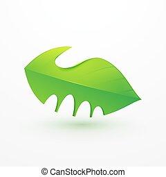 Handshake between human hand and tree. Logo, Icon