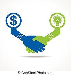handshake between idea and money