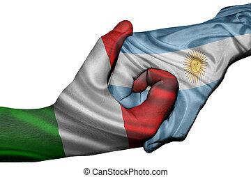Handshake between Italy and Argentina - Diplomatic handshake...
