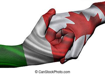 Handshake between Italy and Canada - Diplomatic handshake ...