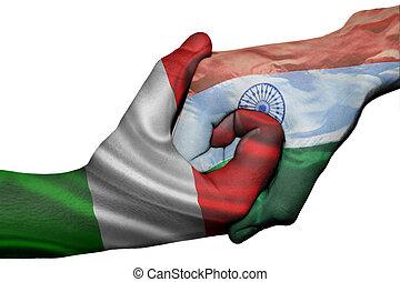 Handshake between Italy and India - Diplomatic handshake ...