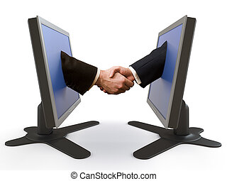 handshake emerging from two LCD screens. This image contains clipping path for exact isolation from the background.