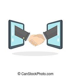 Handshake between screens.