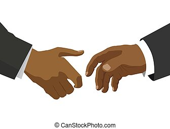Handshake between two black people, flat illustration for business and finance concept isolated on white