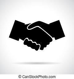 Handshake. Black flat icon with shadow.