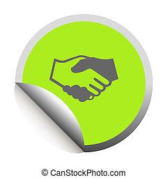 Handshake black icon in sticker. Vector illustration
