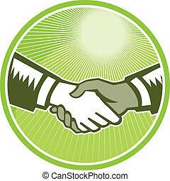 Handshake Black White Woodcut Circle - Illustration of two...