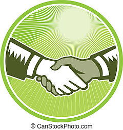 Handshake Black White Woodcut Circle - Illustration of two...