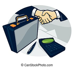 Illustration of two businessmen in business deal handshake with briefcase pen and calculator done in retro style.