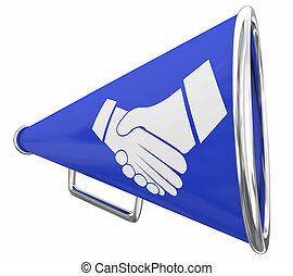 Handshake Bullhorn Megaphone Deal Announcement 3d Illustration