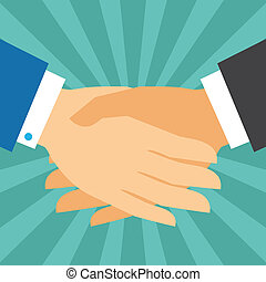 Handshake business concept in flat design style.